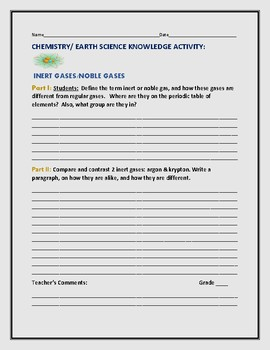 CHEMISTRY/EARTH SCIENCE KNOWLEDGE ACTIVITY: INERT GASES
