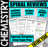 CHEMISTRY Entire Year Spiral Reviews | Bell Ringers | Warm-Ups