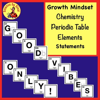 CHEMISTRY GROWTH MINDSET Periodic Table Elements Bulletin Board GOOD VIBES ONLY