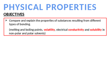 CHEMISTRY NOTES ON RELATIONSHIP BETWEEN BONDING AND PHYSICAL PROPERTIES