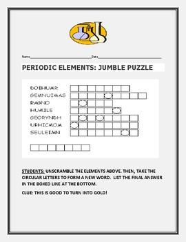 CHEMISTRY: PERIODIC ELEMENTS: WORD JUMBLE PUZZLE