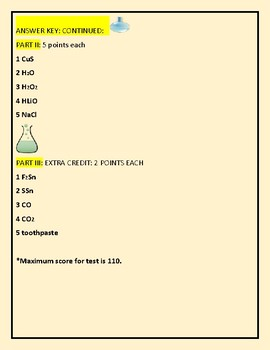CHEMISTRY QUIZ: BINARY COMPOUNDS: T/F, FILL-INS & ANSWER KEY