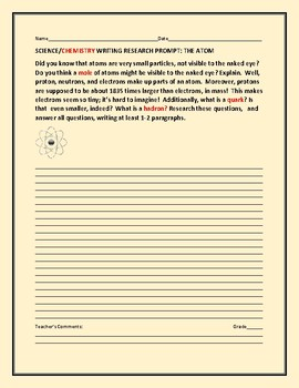 CHEMISTRY: SCIENCE WRITING/ RESEARCH PROMPT: THE ATOM/ GRADES 5-9