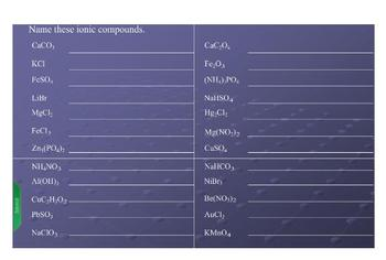 CHEMISTRY - SMART Notebook - Ionic and Covalent Bonding and Nomenclature