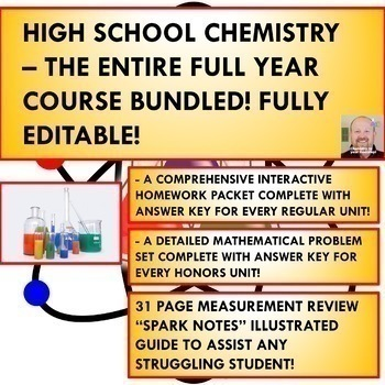 COLLEGE PREP CHEMISTRY - THE ENTIRE FULL YEAR COURSE BUNDLE!  OVER 3000 PAGES!