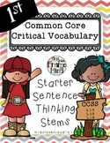 Academic Vocabulary Anchor Charts Sentence Frames Grades 1