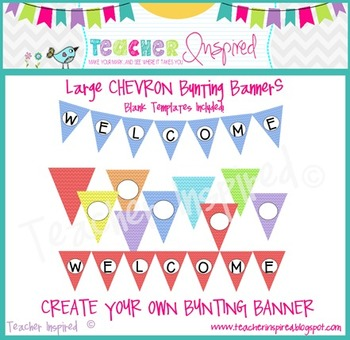 CHEVRON Bunting Banners - Large Create Your Own Flags!