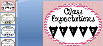 CHEVRON CLASS RULES PROCEDURES EXPECTATIONS COLOR/BLACK POSTER back school