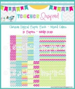 CHEVRON Digital Papers 12 Mixed Colors