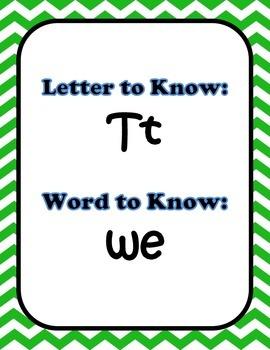 CHEVRON Kindergarten Journeys Letters & Sight Words Posters