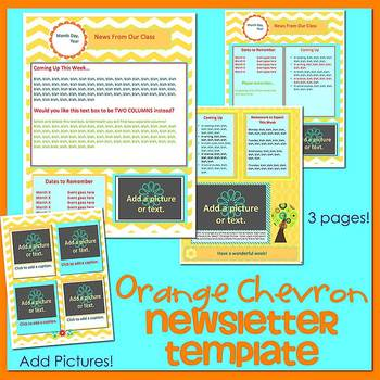 CHEVRON ORANGE theme - Newsletter Template WORD