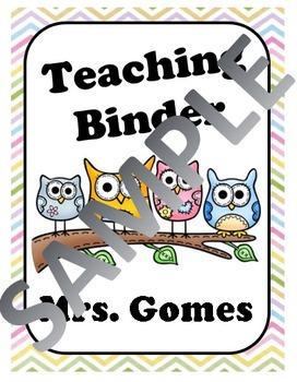 CHEVRON Owl Teacher Binder Cover EDITABLE!