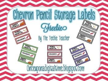 {CHEVRON} Pencil Storage Labels FREEBIE