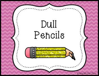 {CHEVRON} Sharpened and Unsharpened Pencils Signs, Classroom Organization