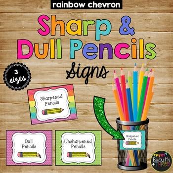 {CHEVRON} Sharpened and Unsharpened Pencils Signs, Classro