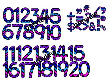 CHEVRON TEACHER PACK- LETTERS, NUMBERS, SYMBOLS CLIP ART