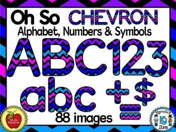 CHEVRON TEACHER PACK- LETTERS, NUMBERS, SYMBOLS CLIP ART