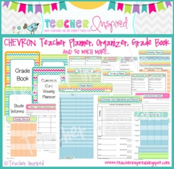 chevron teacher planner grade book and organizer by teacher inspired