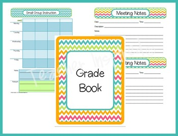 CHEVRON Teacher Planner, Grade Book, and Organizer