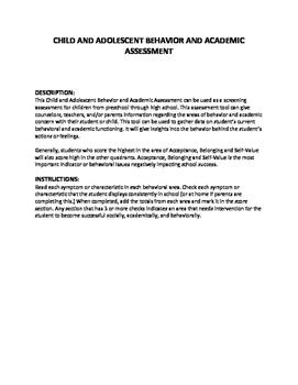 CHILD AND ADOLESCENT BEHAVIOR & ACADEMIC ASSESSMENT
