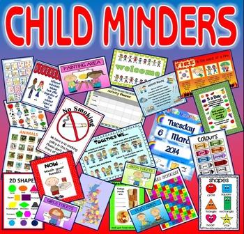 CHILD MINDER POSTER PACK - 30+ STARTER KIT -ENGLISH MATHS SAFETY HEALTH