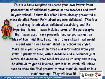 CHILDHOOD:  A POWER POINT TEMPLATE TO PRESENT TEACHER PICTURES