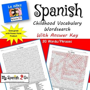 CHILDHOOD:  Spanish Vocabulary Wordsearch