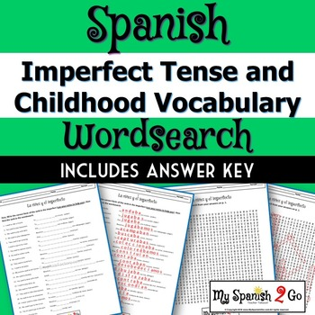 CHILDHOOD VOCAB AND IMPERFECT TENSE:  Fill-In-The-Blank and Wordsearch