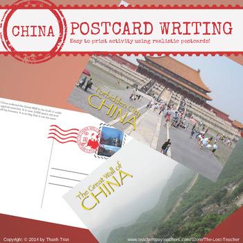 CHINA - Postcard Writing Activity
