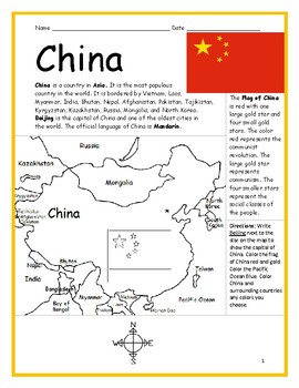 photo relating to Printable China Map identified as CHINA - Printable handout with map and flag via Interactive