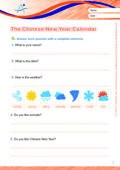 CHINESE NEW YEAR - Lesson 2 of 8 - Grade 1