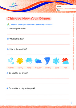 CHINESE NEW YEAR - Lesson 3 of 8 - Grade 1