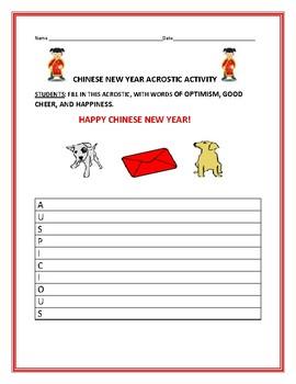 CHINESE NEW YEAR: WRITING ACTIVITY