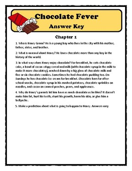 CHOCOLATE FEVER by Robert Kimmel Smith - Comprehension & Text Evidence