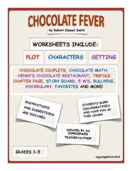 Chocolate Fever Novel Unit Ready to Print Worksheets