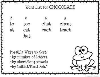 """CHOCOLATE"" Mystery Word Lesson {Making Words}"