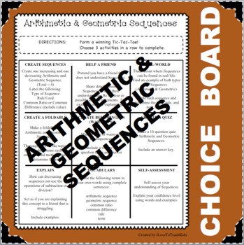CHOICE BOARD Arithmetic Geometric Sequences Differentiated Math Tasks