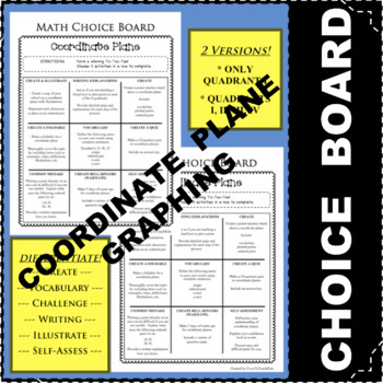 CHOICE BOARD Coordinate Plane Grid Differentiated Center NO PREP Early Finishers