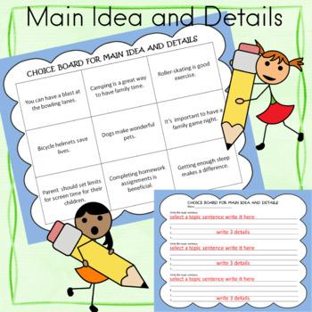 CHOICE BOARD Main Idea and Details
