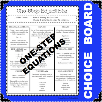 CHOICE BOARD One-Step Equations Differentiated Center NO PREP Early Finishers