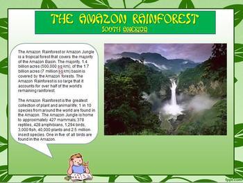 "CHOICE BOARD ""South America, Amazon Rainforest"" Writing Center W 6.8"