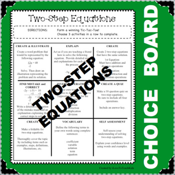 CHOICE BOARD Two-Step Equations Differentiated Center NO PREP Early Finishers
