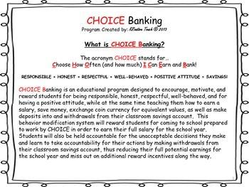 CHOICE Banking-A Behavior Management Program That Makes Cents!