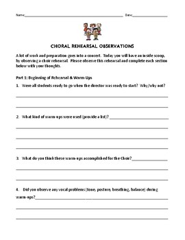 CHORAL Rehearsal Observation Form