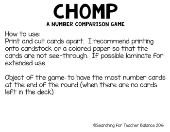 CHOMP: A Number Comparison Game [Version to 120]
