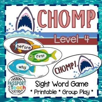 CHOMP! Second Grade Dolch Sight Words Game
