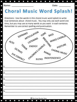 """CHORAL MUSIC WORD SPLASH-GREAT """"BACK TO SCHOOL"""" ACTIVITY!"""