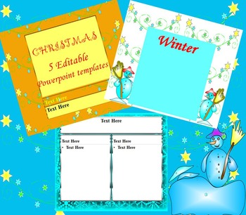 Winter 5 Editable Powerpoint Templates By Nikole T Tpt