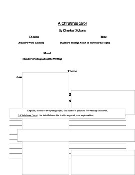 "CHRISTMAS: ""A Christmas Carol"" Diction, Tone, Mood, Theme, Author's Purpose"