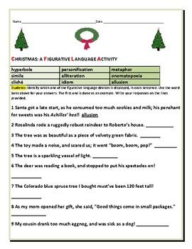 CHRISTMAS: A FIGURATIVE LANGUAGE ACTIVITY